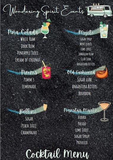 Example Cocktail Menu