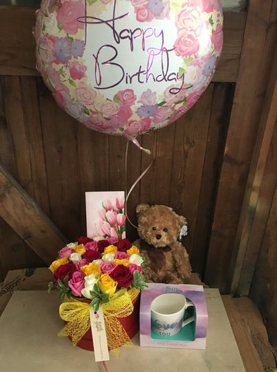 Birthday bouquet and gifts