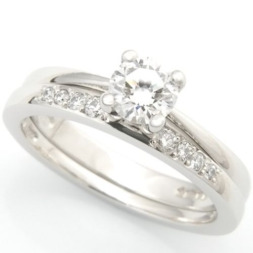 platinum diamond set fitted wedding ring to solitaire engagement ring 4 96708