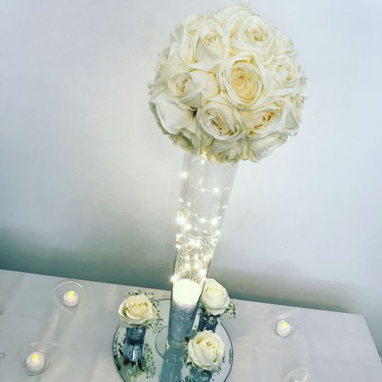 Tall rose centrepieces