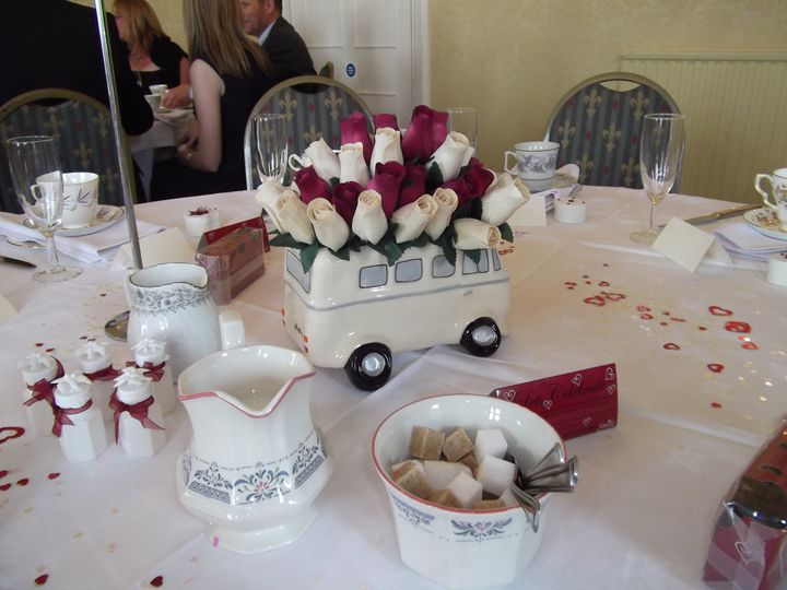 Vintage china set out for a wedding