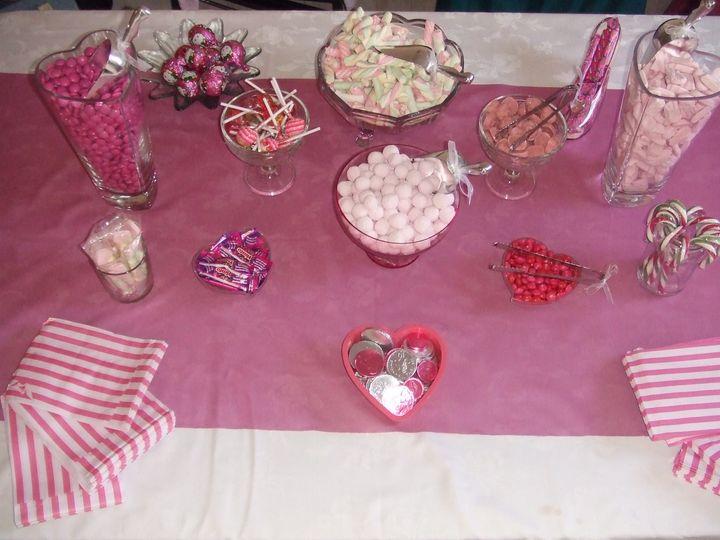 Pink themed sweet buffet