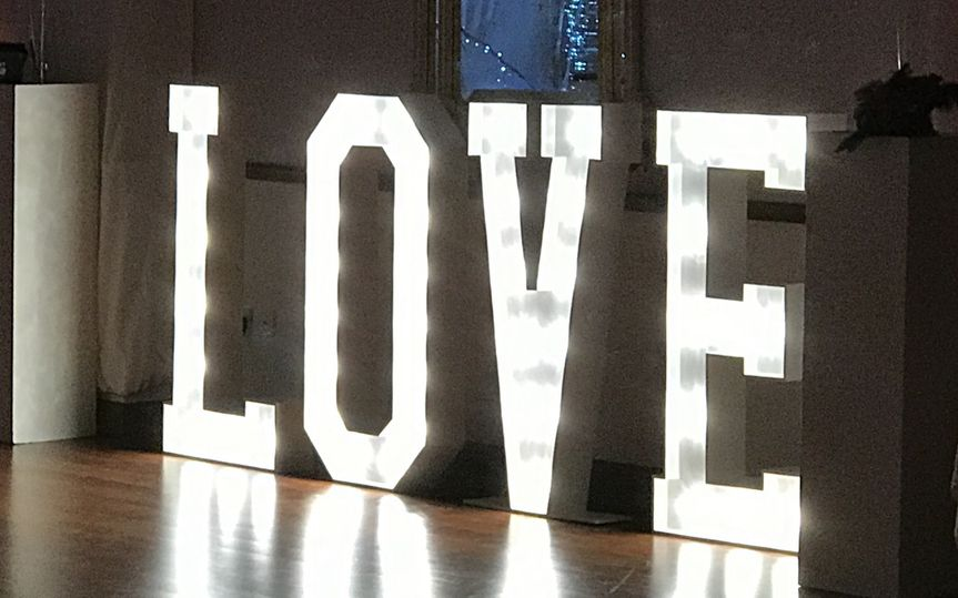 Four-foot LED love letters