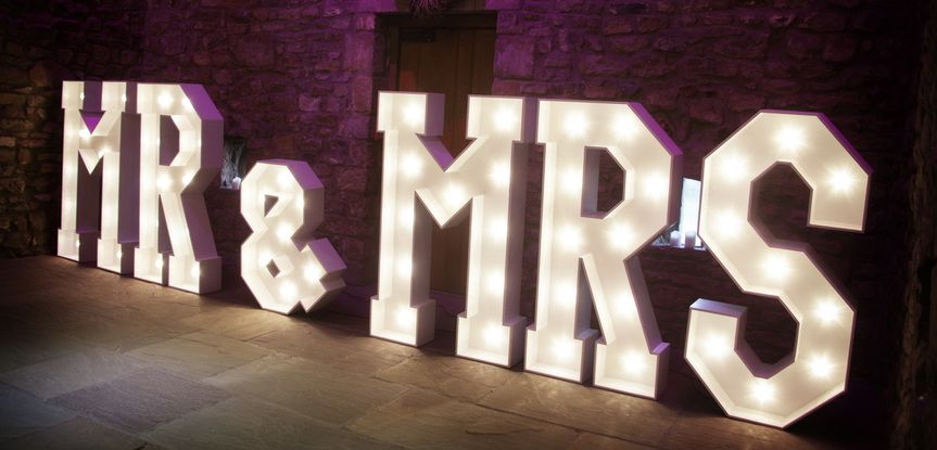 Wedding-themed LED letters
