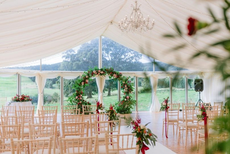 Ballogie House marquee ceremony - Photo credit @jameskellyphotography