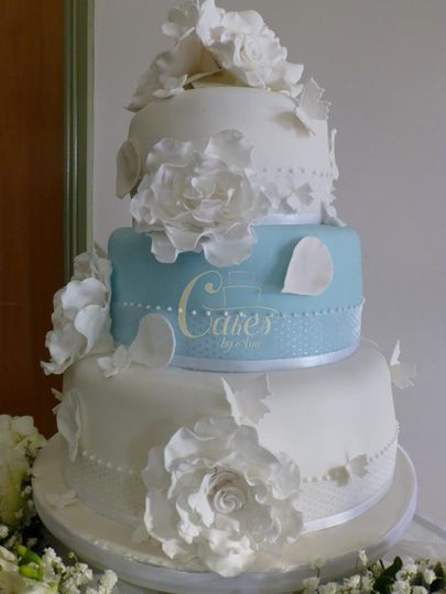 White and Blue Wedding Cakes