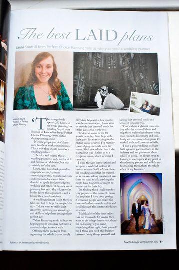 Pure Weddings Magazine article