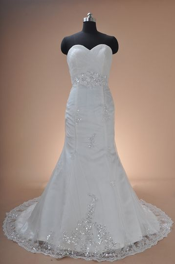 Satin and lace with appliques
