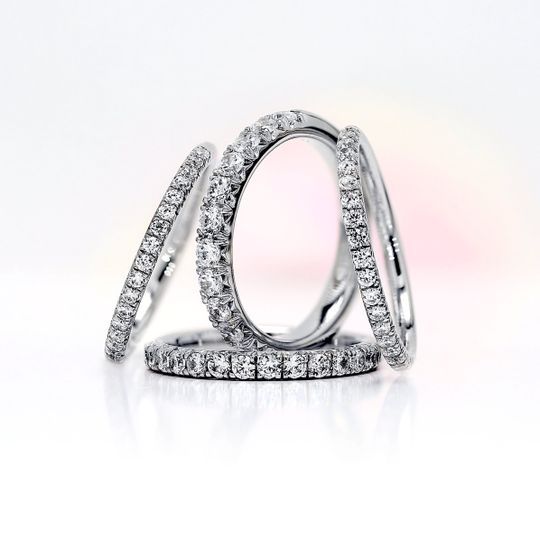 French pave diamond rings