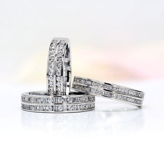 Double row diamond rings