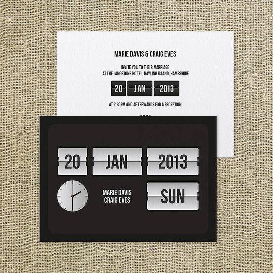 'Flip clock' wedding invite