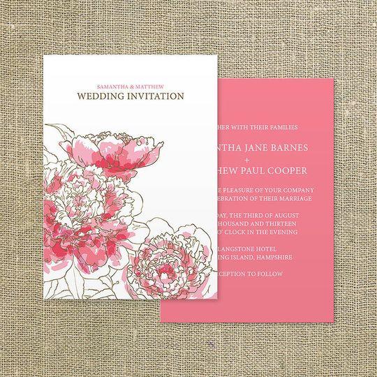'Peony' wedding invitation