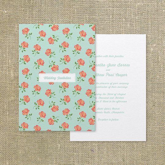 'Vintage rose' wedding invite