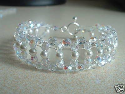 Crystal & Pearl Bridal Cuff Bracelet