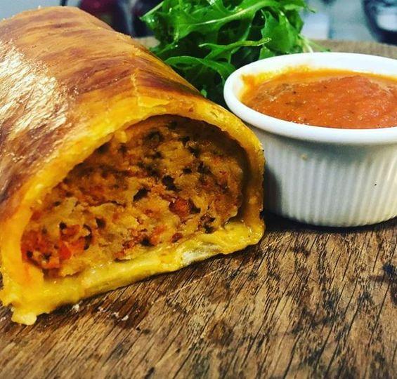 Chicken & Chorizo Sausage Roll, Tomato & Tarragon Ketchup