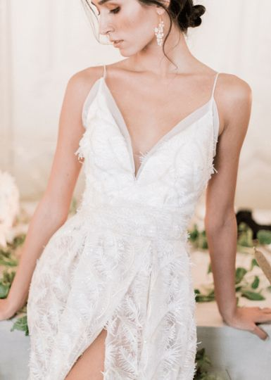 embroidered feather v neck wedding dress with a split front 4 176927 158619108532575