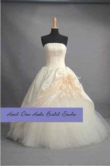 Pale peach strapless gown