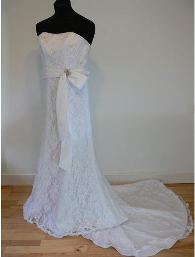 Lace gown with sash