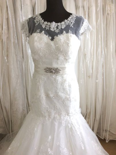 Lace with illusion neckline