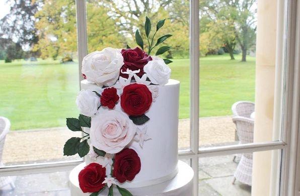 4 Tier Cake with sugar flowers