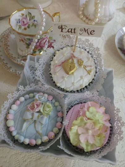 vintage cup cakes x3 4 77009