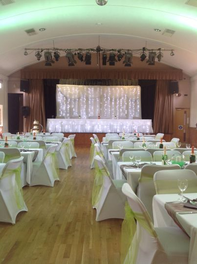 Backdrop and top table skirt