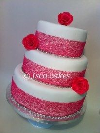 Hot pink round wedding cake