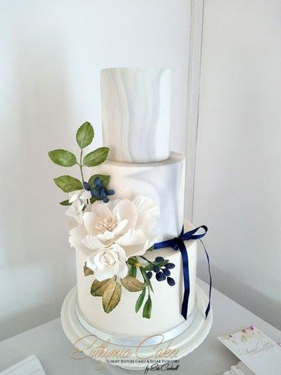 Marble Navy wedding cake