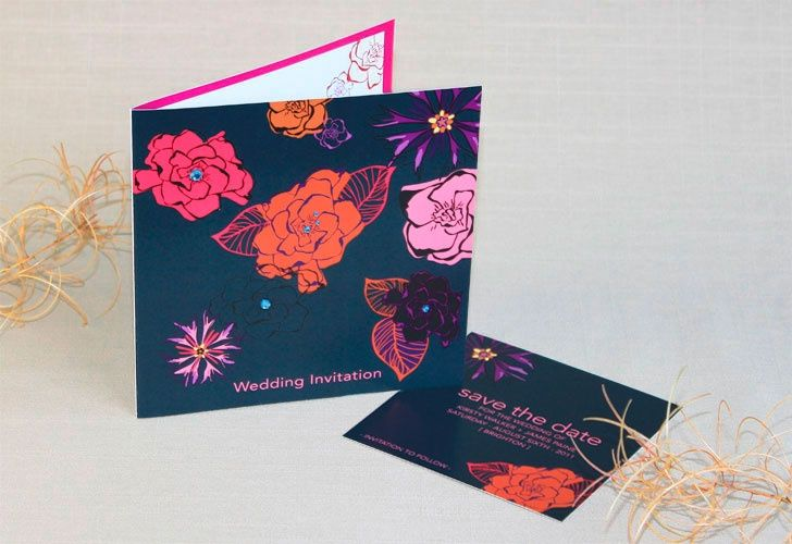Grey flower wedding invite