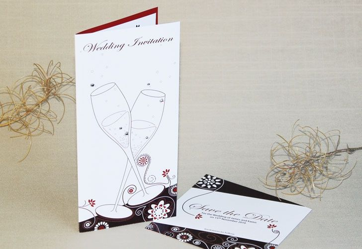 Champagne wedding invitation