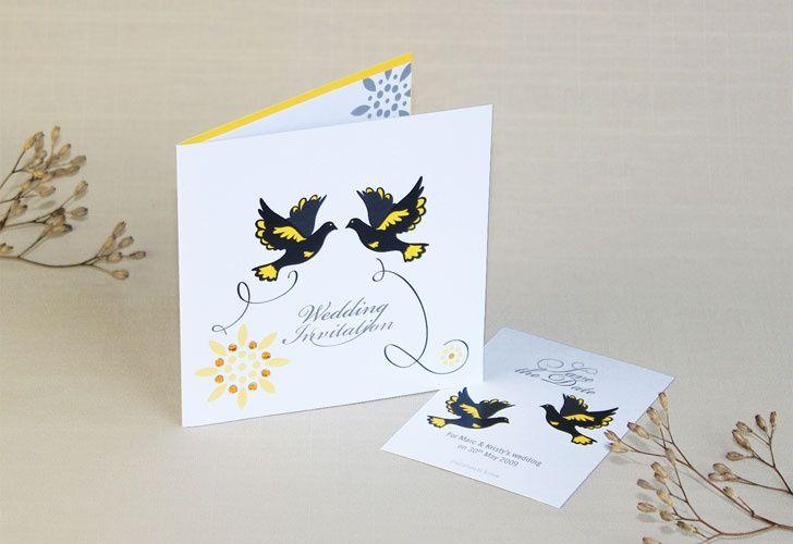 Doves wedding invitation