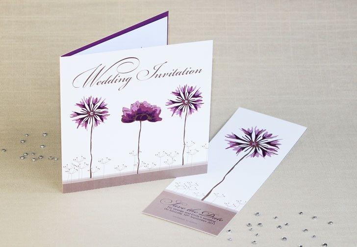Purple flower wedding invite