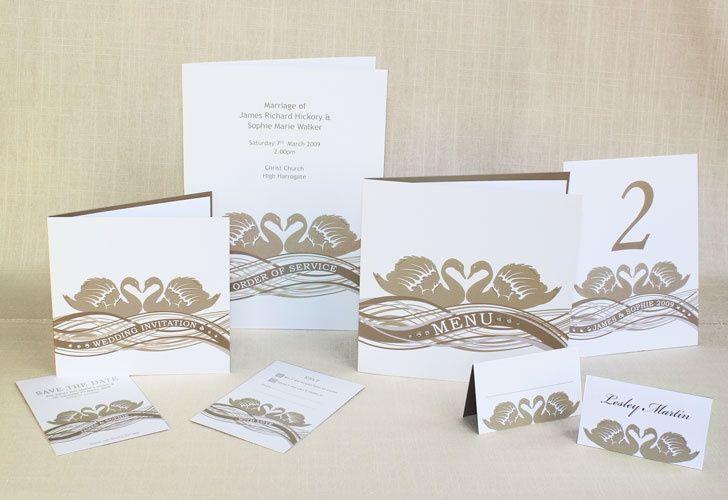 Swans wedding stationery