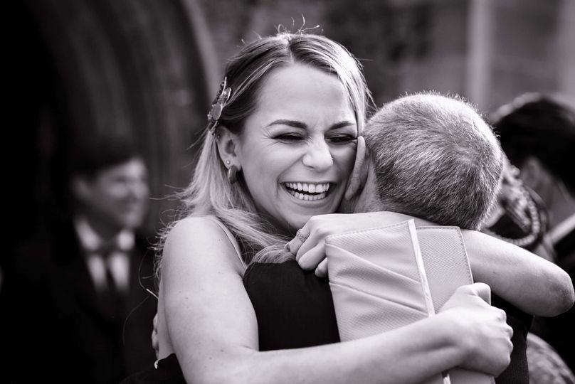 Wedding day hugs