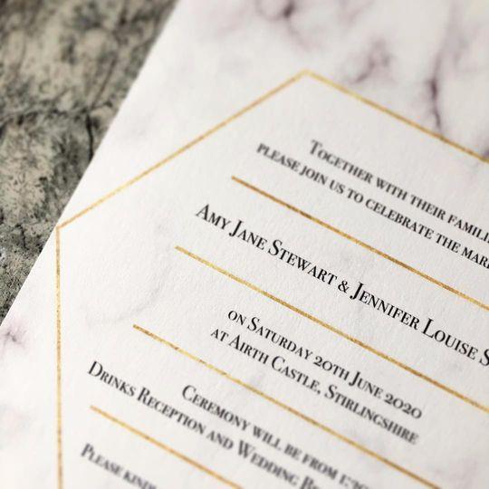 Geometric & Marble Invitation