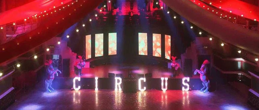 Venue decoration for circus-themed event