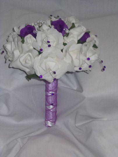 Purple & white brides bouquet