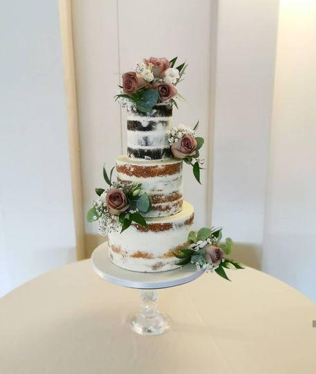 Rustic semi-naked wedding cake