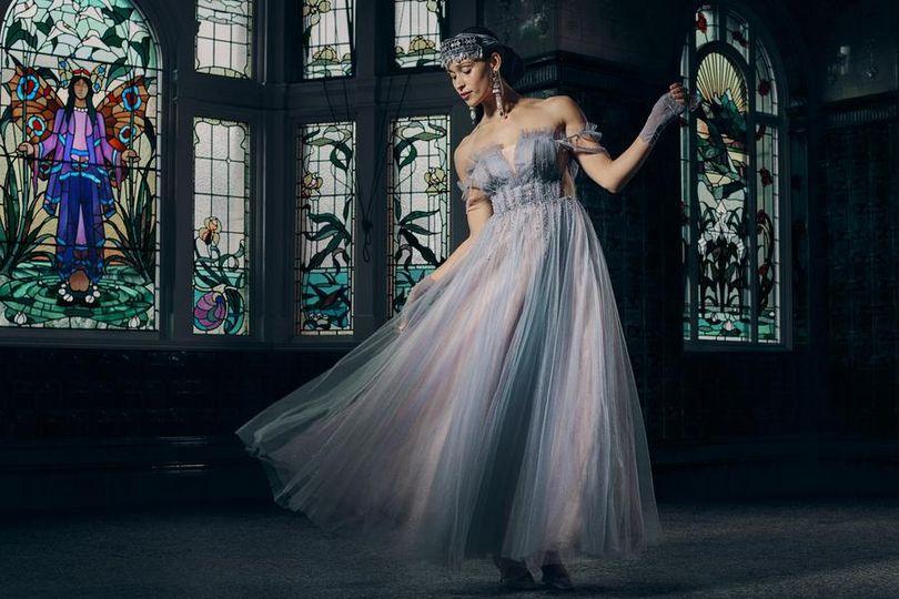 Elegant blue wedding dress