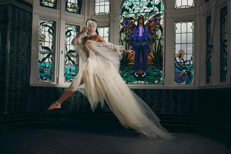 Champagne boho wedding dress