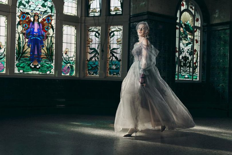 Blush ombré wedding dress