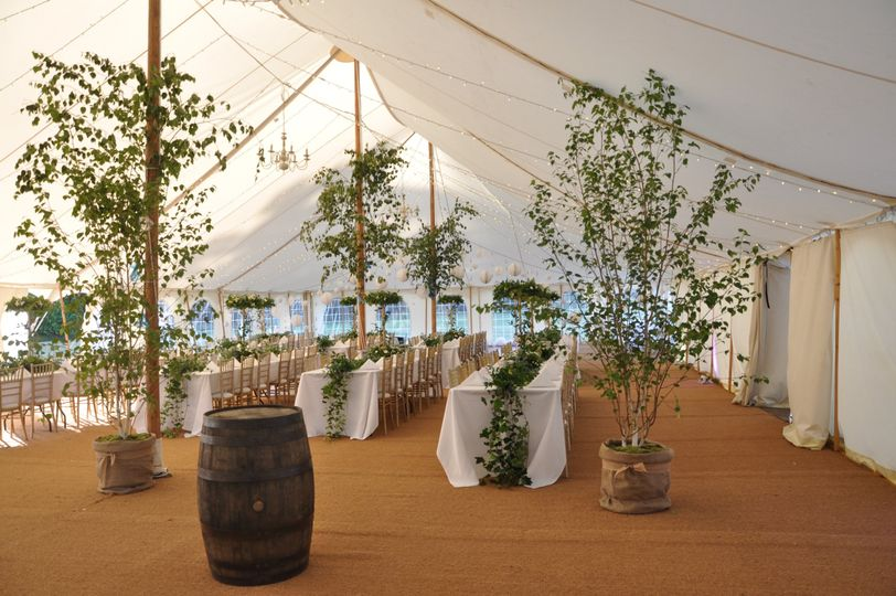 Lovely natural set up in our fab Marquee.