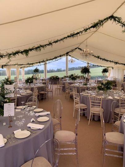 Marquee dining with clear end