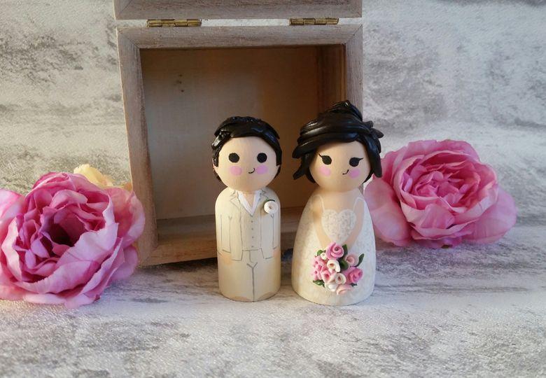 Mini wooden peg doll