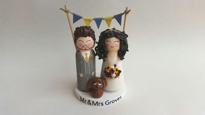 Wooden peg doll bride groom