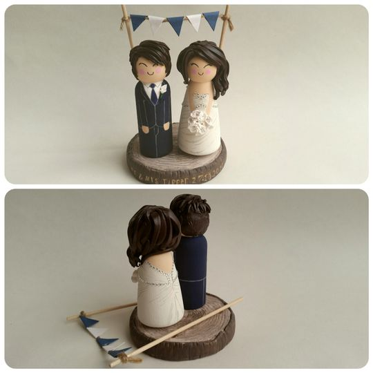 Clay wedding cake toppers
