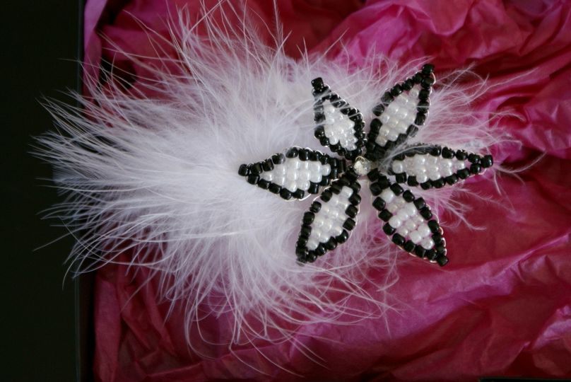 Black And White Beaded Flower Fascinator on a Hair Band