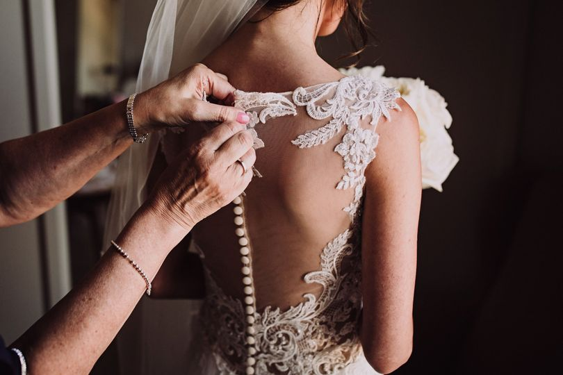 Lace-back wedding gown