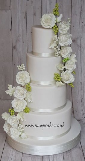 White roses cascade