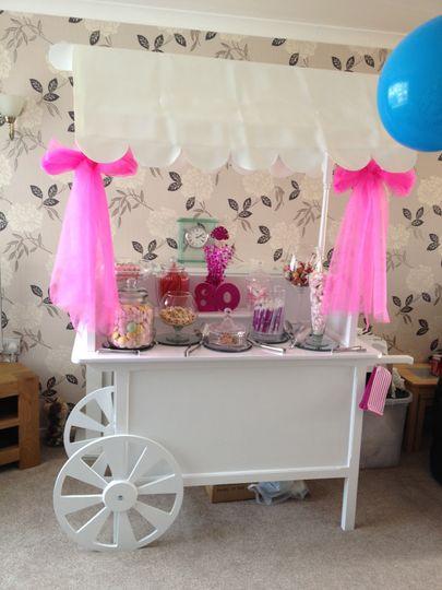 Pink ribbon candy cart